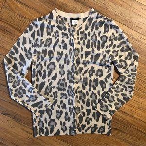 J Crew 💯 Merino Wool snow leopard sweater /cardi